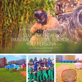 Pack paintball y futbol burbuja en Gandia